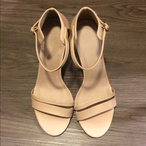 ASOS Nude Size 10 Wide Width Ankle Strap Heels